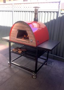 Portable pizza oven Maximus Red with Trolley stand